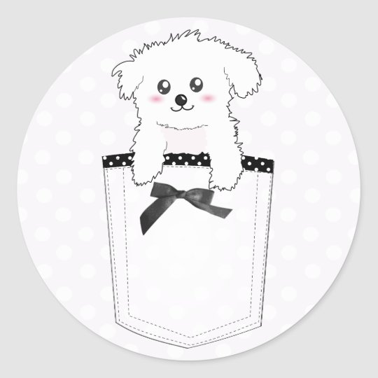 Cute Pocket Puppy Dog Classic Round Sticker