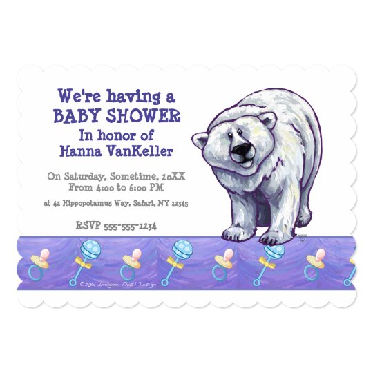Cute Polar Bear Baby Shower Card
