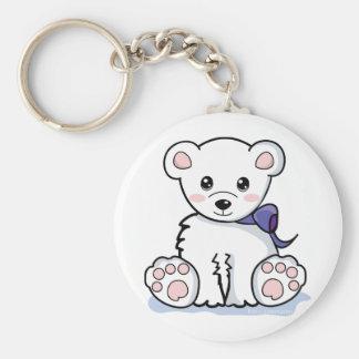 Cute Polar Bear Basic Round Button Keychain