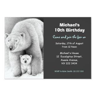 Cute Polar Bear & Cub Birthday Party Invitation