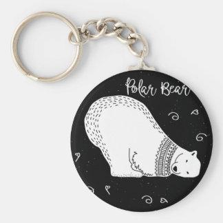 Cute Polar Bear Design in Black and White Keychain