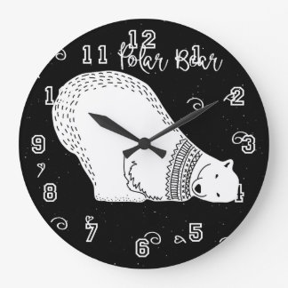 Cute Polar Bear Design in Black and White Large Clock