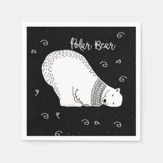 Cute Polar Bear Design in Black and White Paper Napkin