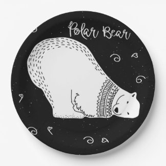 Cute Polar Bear Design in Black and White Paper Plate