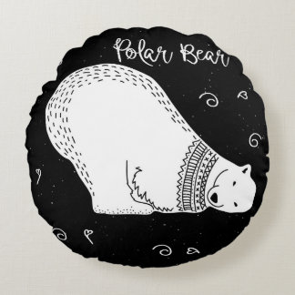Cute Polar Bear Design in Black and White Round Pillow
