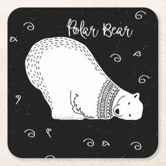Cute Polar Bear Design in Black and White Square Paper Coaster
