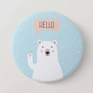 Cute Polar Bear in the Snow says Hello 3 Inch Round Button