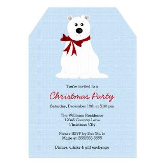 """Cute Polar Bear on Ice Blue Christmas Party 5"""" X 7"""" Invitation Card"""