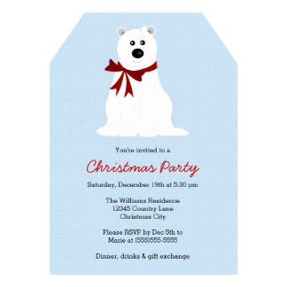Cute Polar Bear on Ice Blue Christmas Party Card
