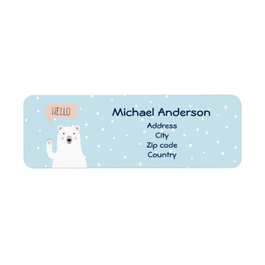 Cute Polar Bear Pesonailzed Return Address Label