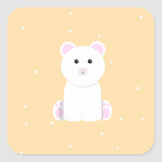 Cute Polar Bear Square Sticker