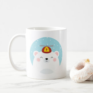 Cute Polar Bear with your Child's Initial on Hat Coffee Mug