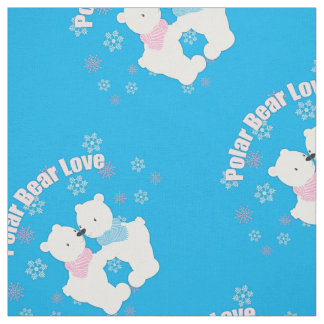 Cute Polar Bears and Snowflakes Fabric