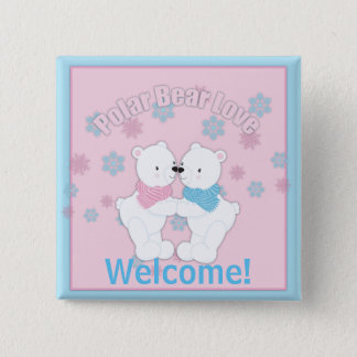 Cute Polar Bears and Snowflakes Personalized 2 Inch Square Button