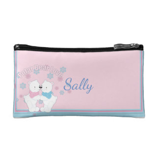 Cute Polar Bears and Snowflakes Personalized Cosmetic Bag