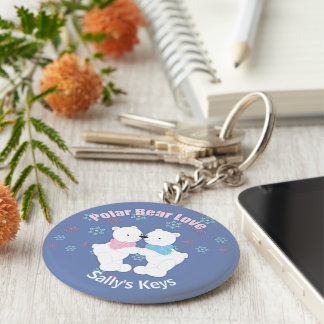 Cute Polar Bears and Snowflakes Personalized Keychain