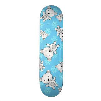 Cute polar bears blue snowflakes skateboard deck
