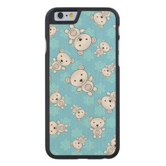 Cute polar bears blue snowflakes carved® maple iPhone 6 case