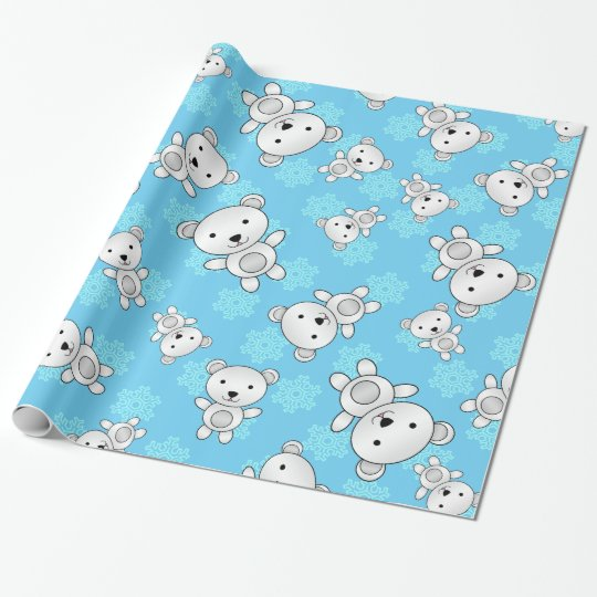 Cute polar bears blue snowflakes wrapping paper
