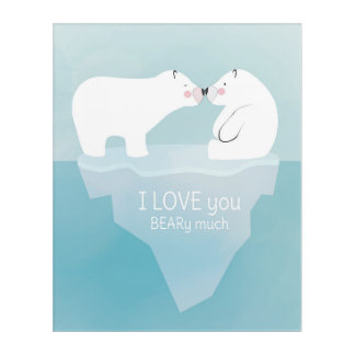 Cute polar bears kissing. Nursery decoration. Acrylic Print