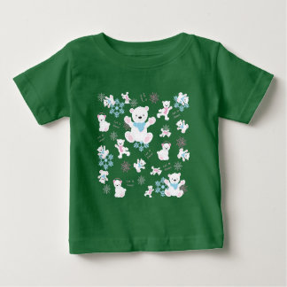 Cute Polar Bears Let It Snow Pattern Print Baby T-Shirt