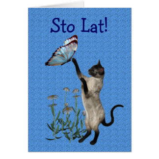 Cute Polish Birthday Card Cat Butterfly