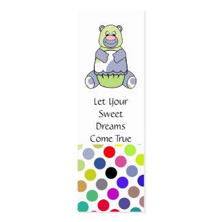 Cute Polka Dot Birthday Bear Bookmark Business Card Template