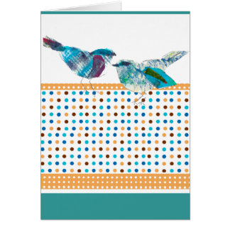 Cute Polka Dot Blue Bird Modern Design Card
