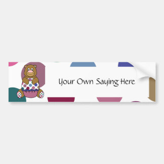 Cute Polka Dot Brown Birthday Bear Bumper Sticker Car Bumper Sticker
