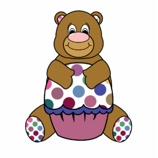 Cute Polka Dot Brown Birthday Bear Ornament Photo Sculpture Ornament