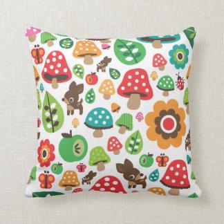 Cute polka dot butterfy flower retro deer throw pillow