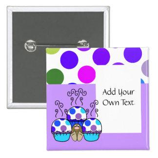 cute polka dot cupcake buttons