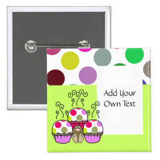cute polka dot cupcake pinback buttons