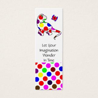 Cute Polka Dot Dinosaur Bookmark Mini Business Card