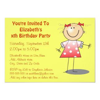 "Cute Polka Dot Dress Little Girl's Birthday Party 5"" X 7"" Invitation Card"