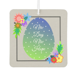 Cute polka dot egg with floral wreath air freshener