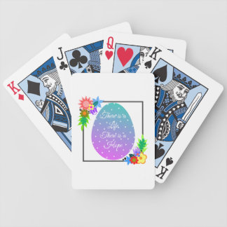 Cute polka dot egg with floral wreath bicycle playing cards