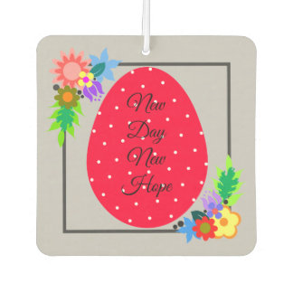 Cute polka dot egg with floral wreath car air freshener