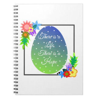 Cute polka dot egg with floral wreath notebook