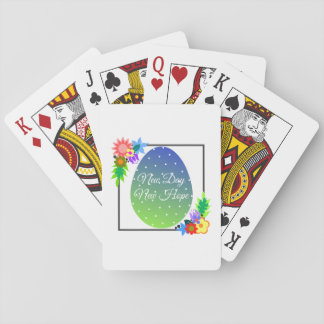 Cute polka dot egg with floral wreath playing cards