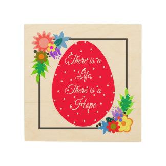 Cute polka dot egg with floral wreath wood wall decor