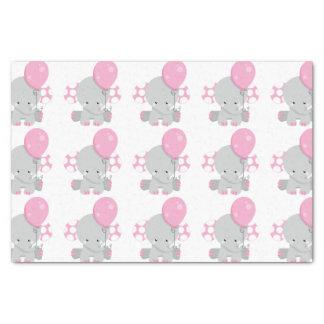 Cute Polka Dot Pink Elephant Girl Baby Tissue Paper