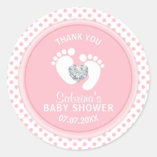 Cute Polka Dot Pink White Feet Baby Shower Classic Round Sticker