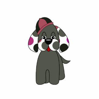 Cute Polka Dot Puppy Dog Ornament Photo Sculptures