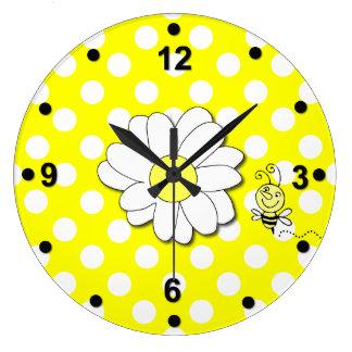 Cute Polka Dots & Bumble Bee Wall Clock
