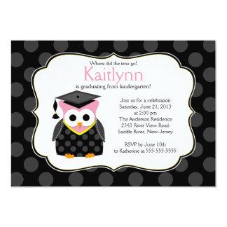 Cute Polka dots Grad Owl Girl Graduation Card