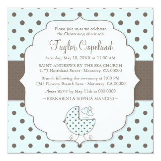 "Cute Polka Dots Modern Baby Christening Invitation 5.25"" Square Invitation Card"