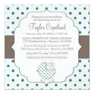 "Cute Polka Dots Modern Baby Christening Invitation 5.25"" Square Invitation Card"