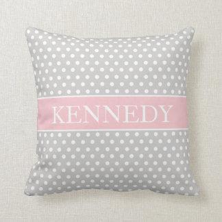Cute Polka Dots Monogram | Light Grey Pink White Throw Pillow