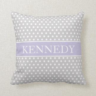 Cute Polka Dots Monogram   Light Grey Purple White Pillow